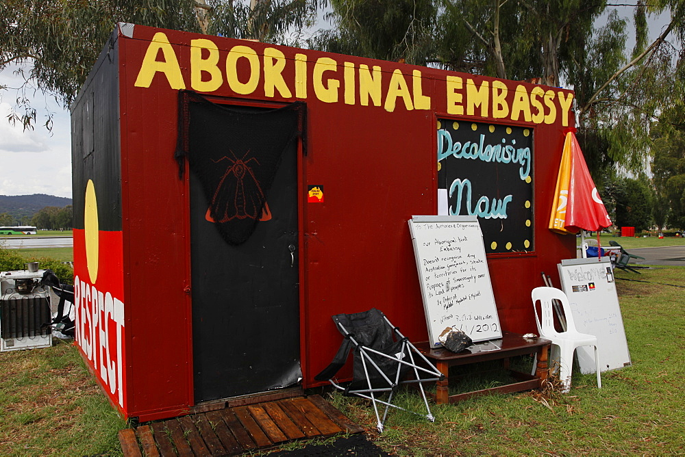 The Aboriginal Embassy tent city outside the old Parliament Buildings in Canberra, Australia