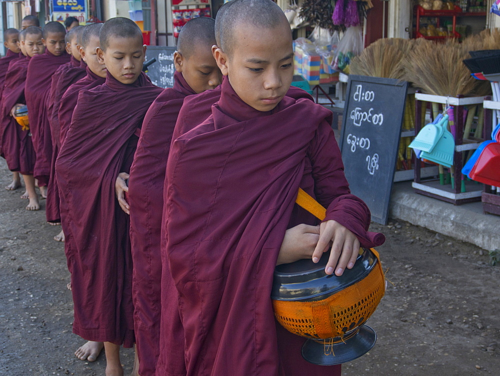 Young monks receiving food gifts in Bagan, Myanmar (Burma), Asia