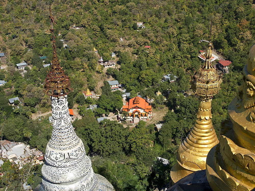 Buddhist temples of Mount Popa near Bagan, Myanmar (Burma), Asia