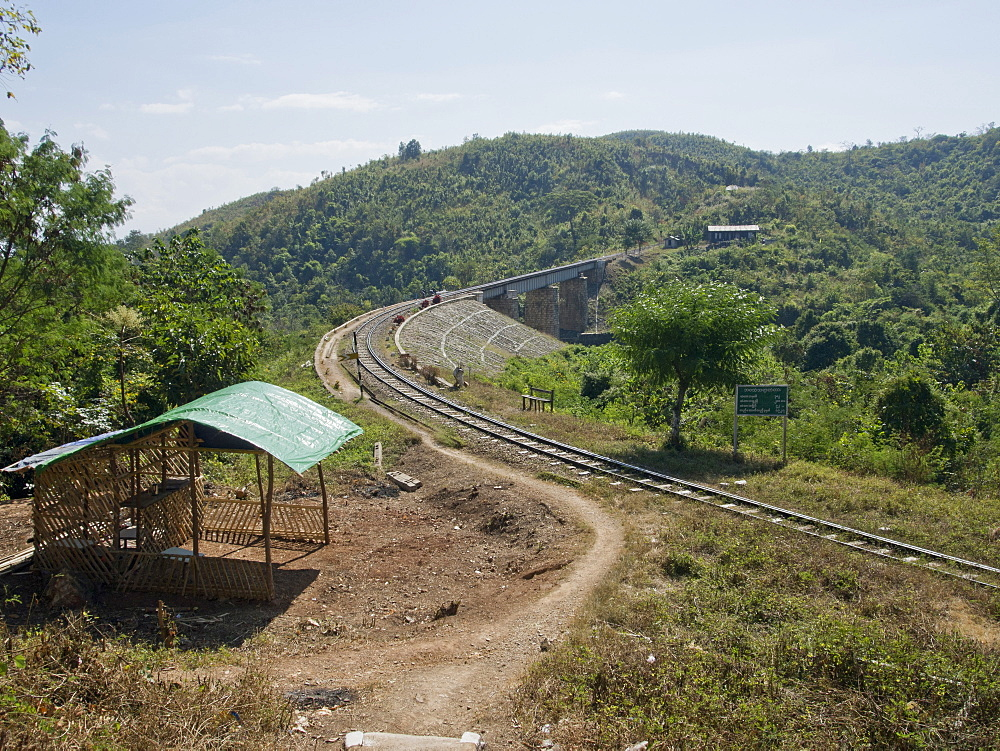 Section of the infamous 'Death Railway' built by POWs during WWII in Shan state, Myanmar