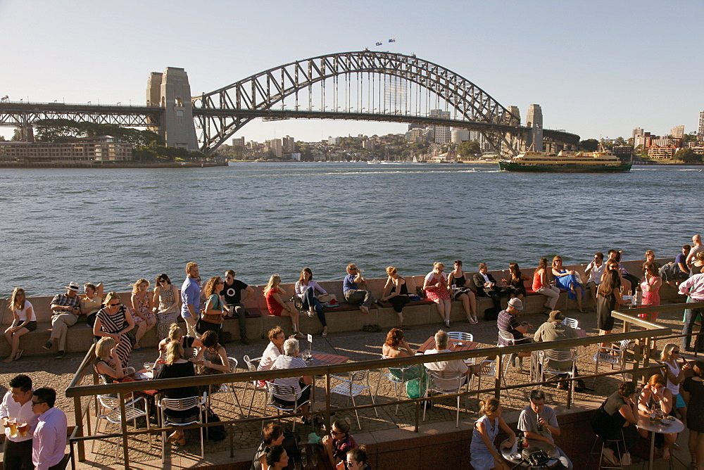 Bars and restaurants by the Opera House and Harbour Bridge, Sydney, Australia