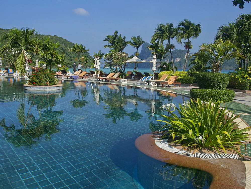 Luxury hotel on a beach at Phi Phi islands, Andaman sea, Thailand, Southeast Asia, Asia
