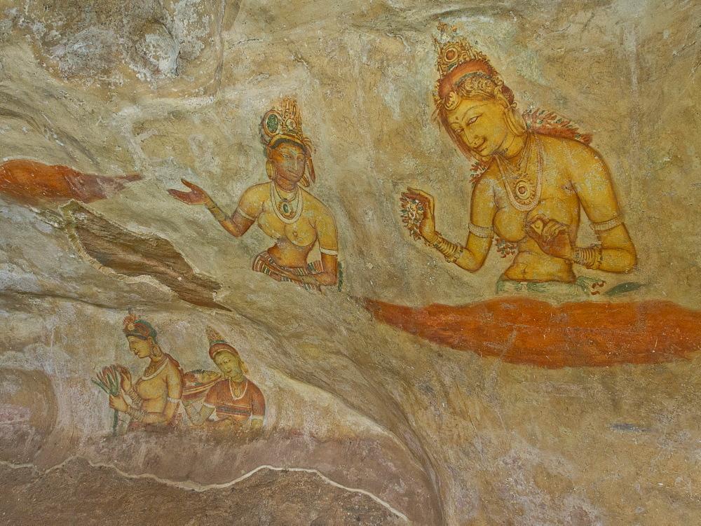 Frescoes in the ancient city of Sigiriya, UNESCO World Heritage Site, Sri Lanka