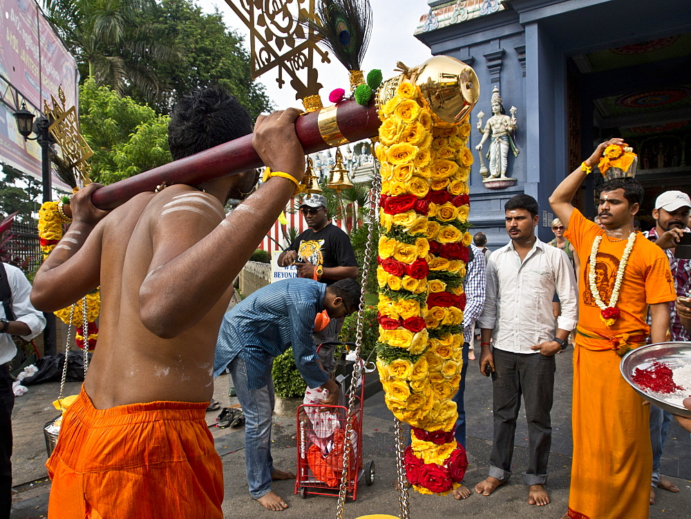 Thaipusam Hindu Tamil festival celebrated in Little India, Singapore, Southeast Asia, Asia