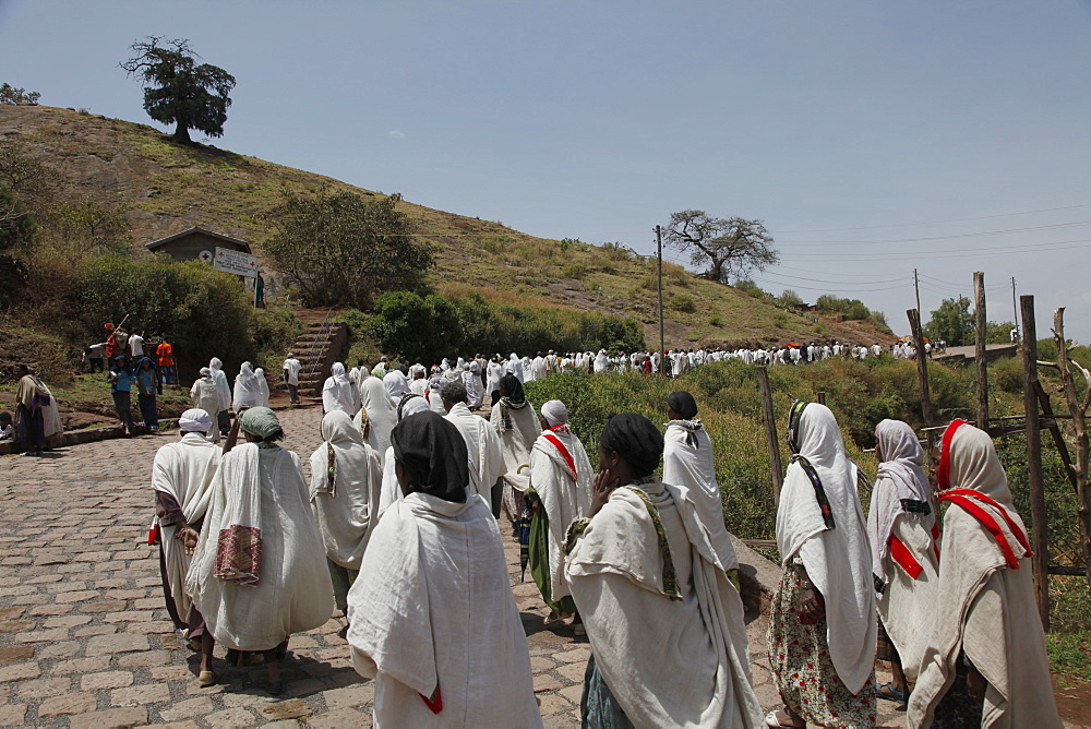 Pilgrims during the Easter Orthodox Christian religious celebrations in the ancient rock-hewn churches of Lalibela, Ethiopia, Africa - 1188-800