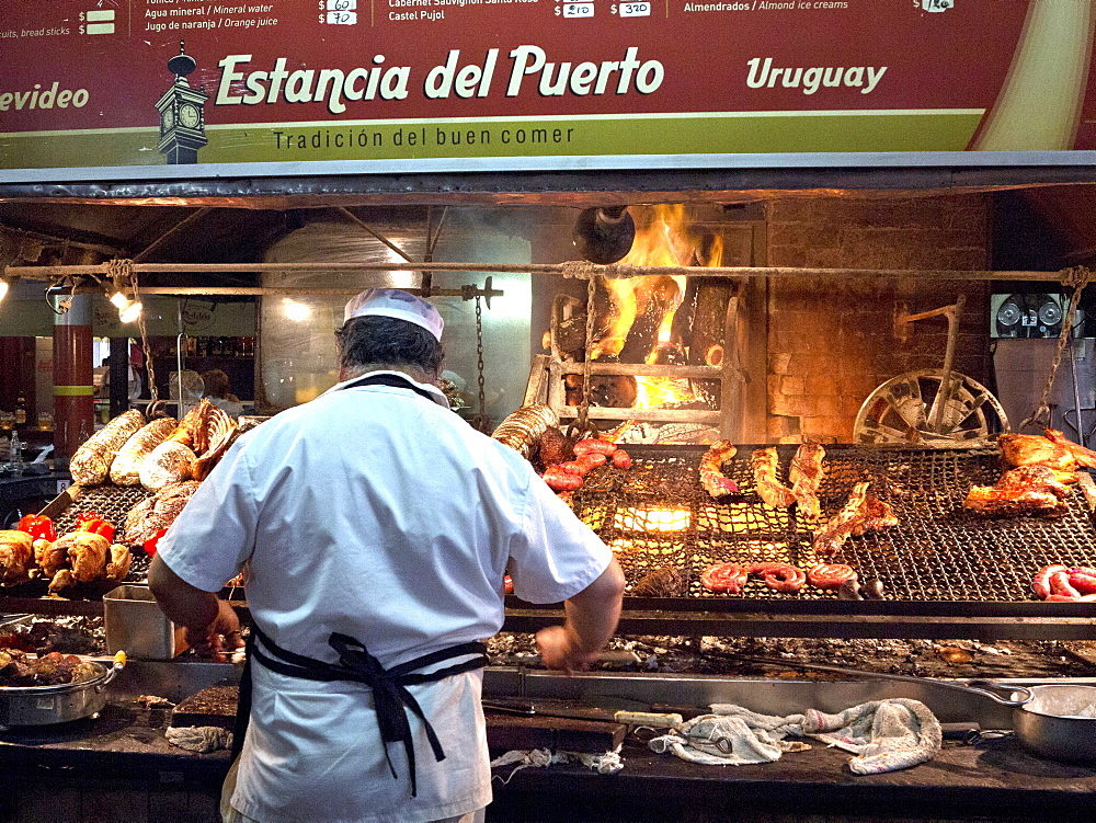 Parilla barbeque restaurant in the Mercado del Puerto, Montevideo, Uruguay, South America