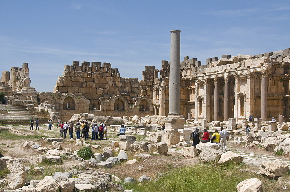 Tourists at the ancient Temple of Baal, the Heliopolis in Baalbek, UNESCO World Heritage Site, Lebanon, Middle East