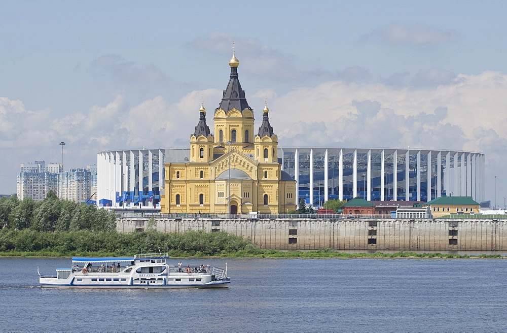 View of the Alexander Nevsky Cathedral and 2018 World Cup football stadium in Nizhny Novgorod across the Volga River, Russia, Europe - 1188-917