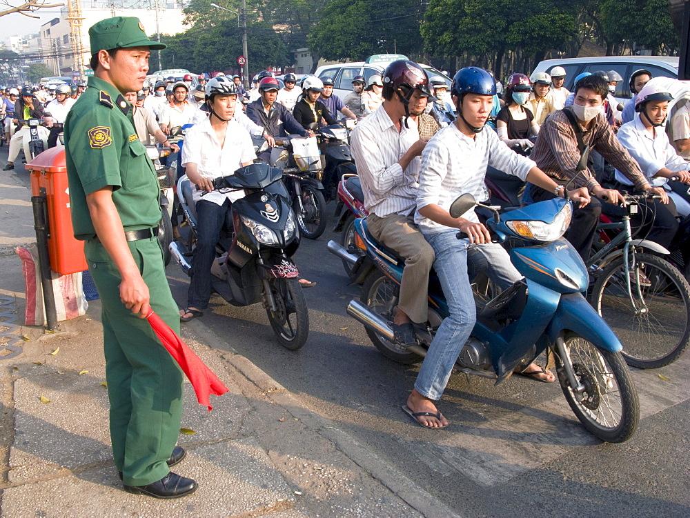 Vietnam, traffic wardens in ho chi minh city