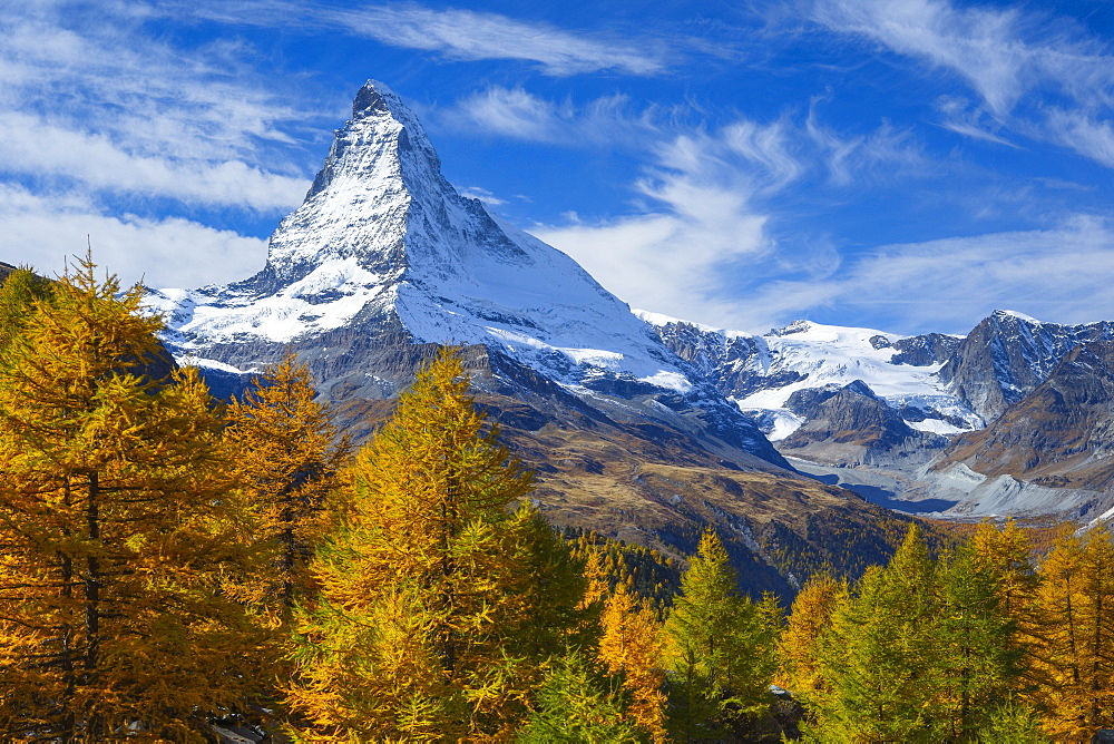 Matterhorn and larch tree forest in autumn, Valais, Swiss Alps, Switzerland, Europe - 1189-51