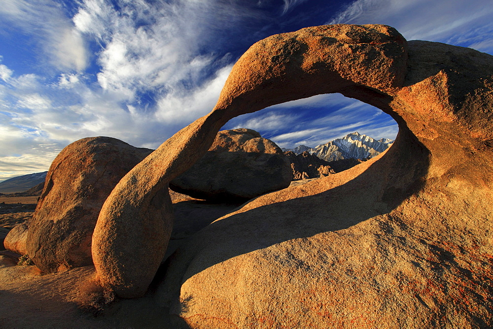 Mobius arch, natural arch formed out of granite rock at sunrise, lone pine peak, 12994, feet, alabama hills, sierra nevada, lone pine, california, usa