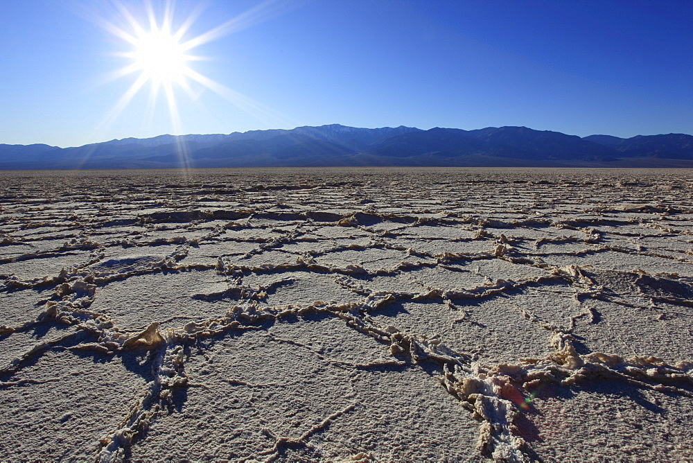 Badwater, saltpan in desert, death valley national park, california, usa