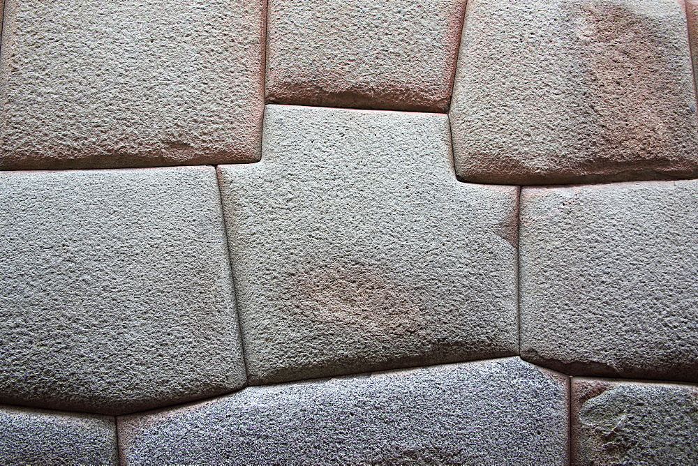 Inca Stone wall made from huge granite blocks fitted skillfully together using no cement, a fine example of Inca craftsmanship, Cuzco, Peru, South America - 1191-36