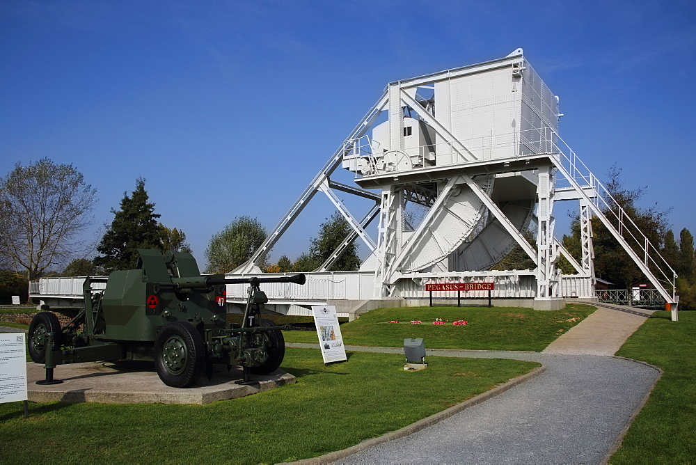 Original Pegasus Bridge built in 1934 and now at the Pegasus Memorial Museum, Normandy, France, Europe - 1191-43