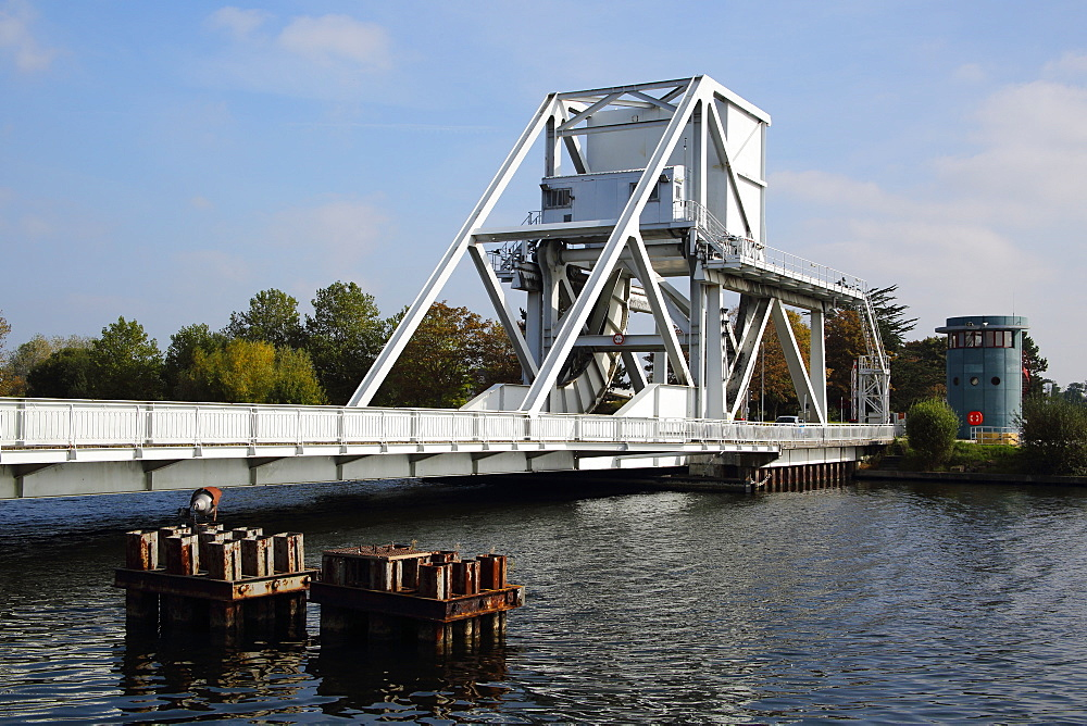Replica of the original historic 1934 Pegasus Bridge over Caen Canal, built in 1994, Normandy, France, Europe