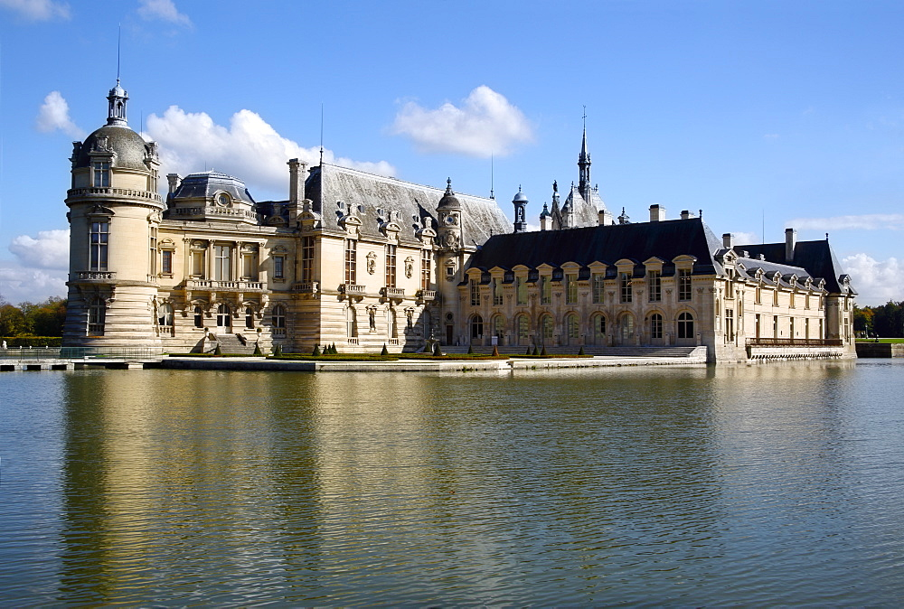 Chateau Chantilly across the moat, Chantilly, Oise, France, Europe - 1191-53