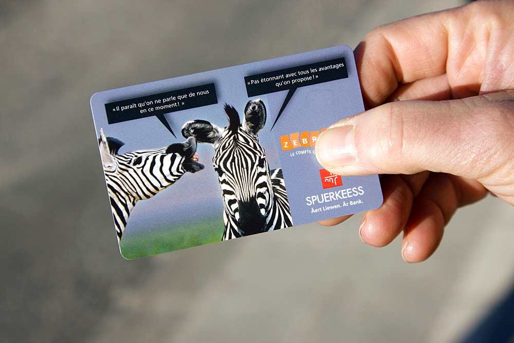 An electronic bus card in Luxembourg. Visitor. model release