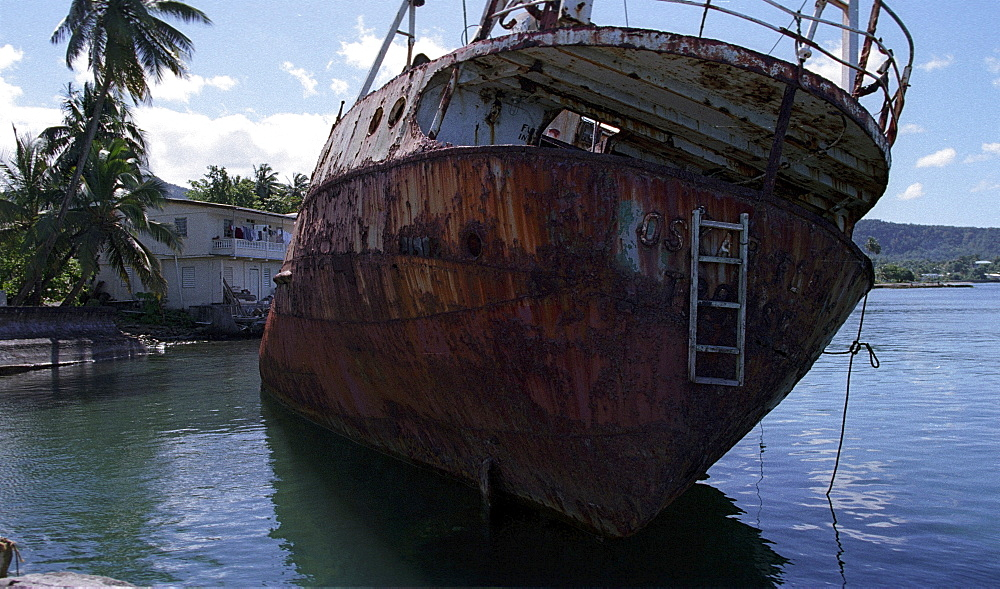Ship wreck, dominica. Portsmouth. Ship wreck after hurricanes in 1980