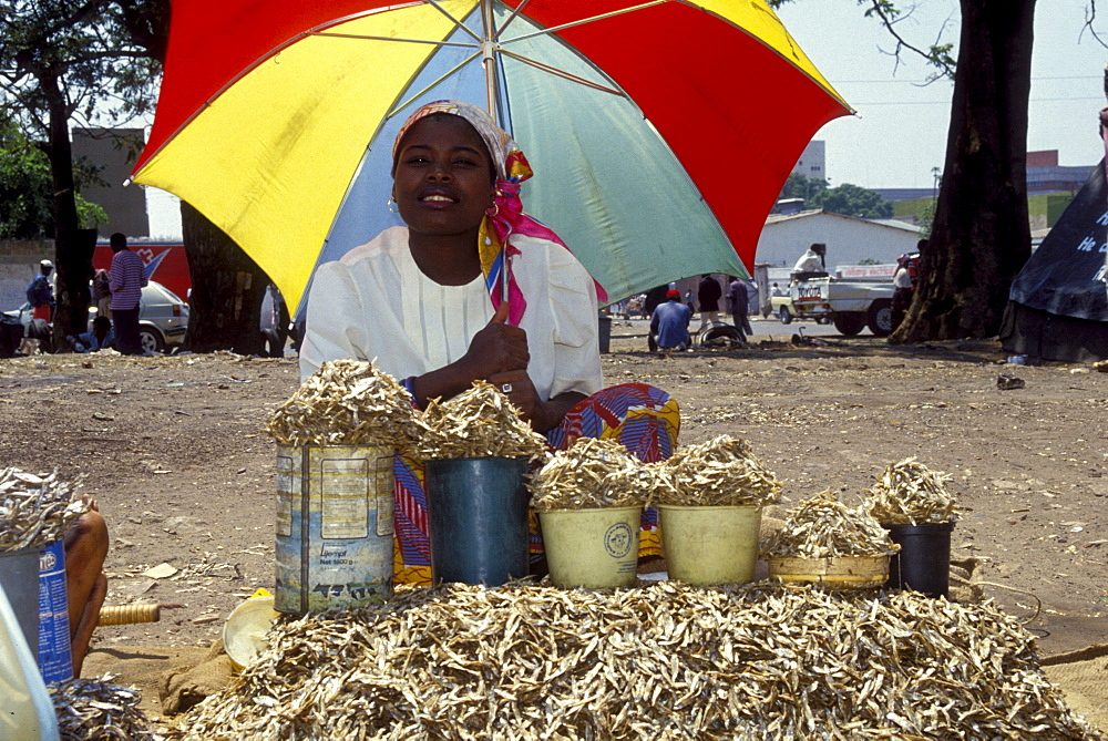 Saleswoman with dried fish on a market place in lusaka, zambia