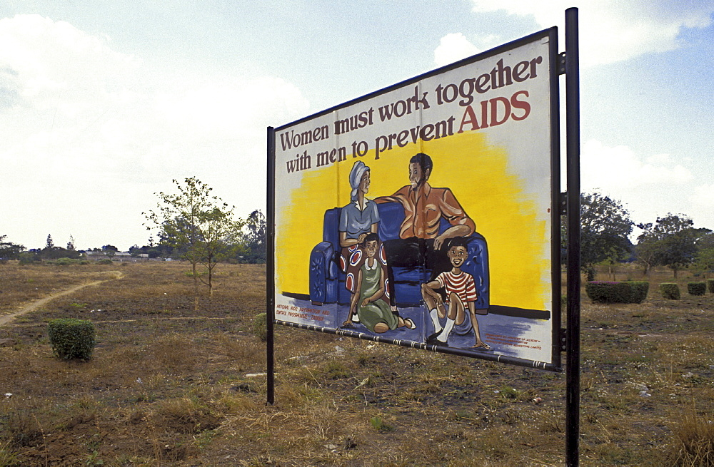 Aids education, zambia. Lusaka. A sign about aids information