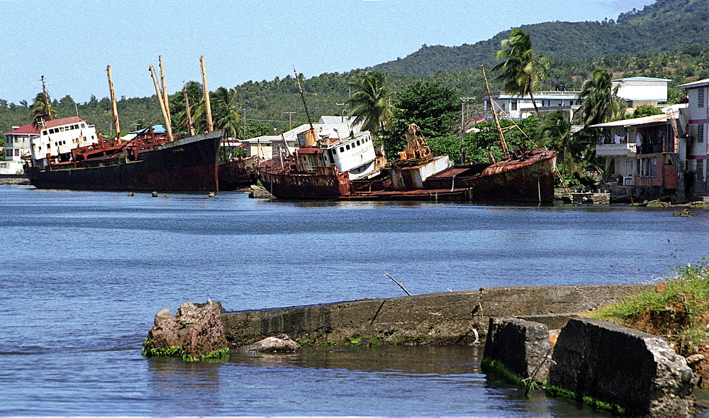 Ship wreck, dominica. Portsmouth. Ship wrecks after hurricanes in 1980