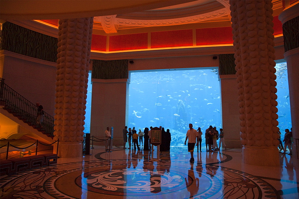 The huge aquarium at hotel Atlantis. Palm Jumeirah. Dubai