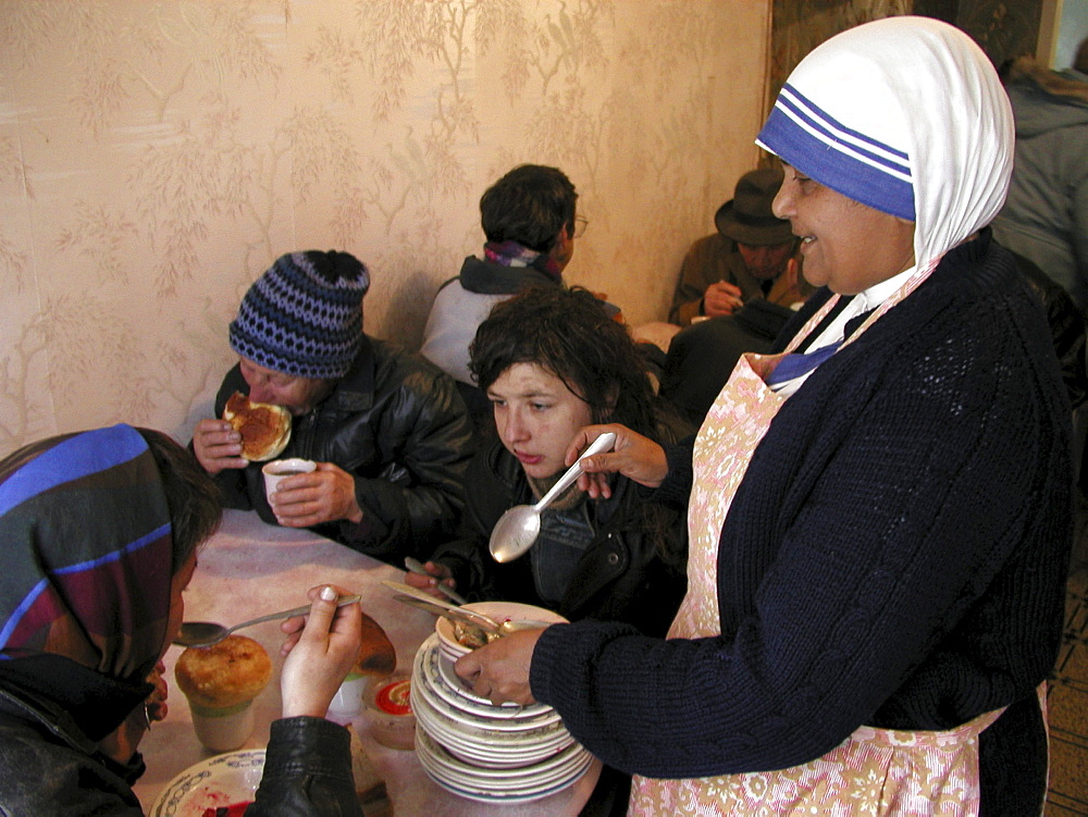 Russia - soup kitchen run by mother teresas sisters of charity for the poor and elderly - yuzhno sakhalinsk, sakhalin island, russian far east