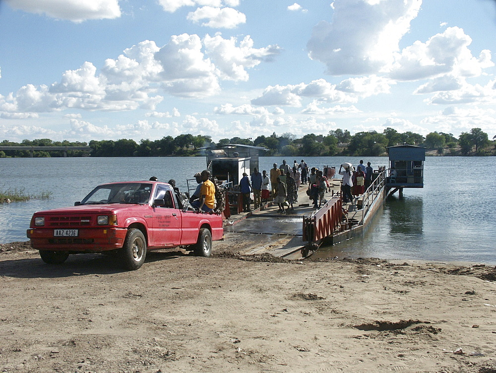 Zambia crossing the zambezi river in shangombo