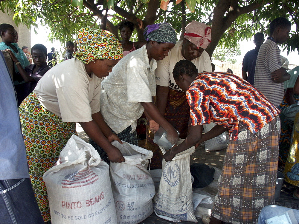 Zambia distribution of american catholic relief services (crs) food aid at a center in mongu, during a time of drought and famine. (2002-3)
