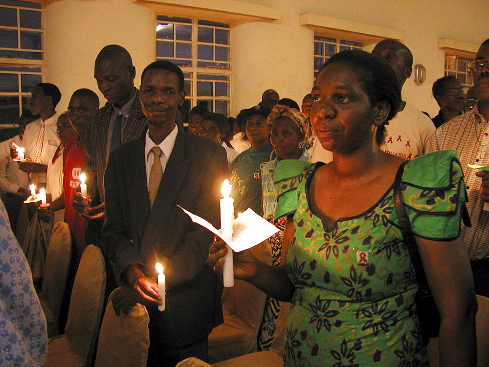 Zambia candlelit vigil for world aids day, livingstone
