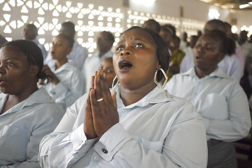 TANZANIA The Roman Catholic Parish of Buza, Dar es Salaam. Sunday mass. The choir. photograph by Sean Sprague
