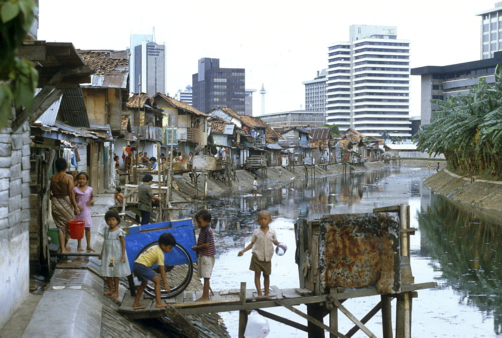 Indonesia slums downtown of jakarta