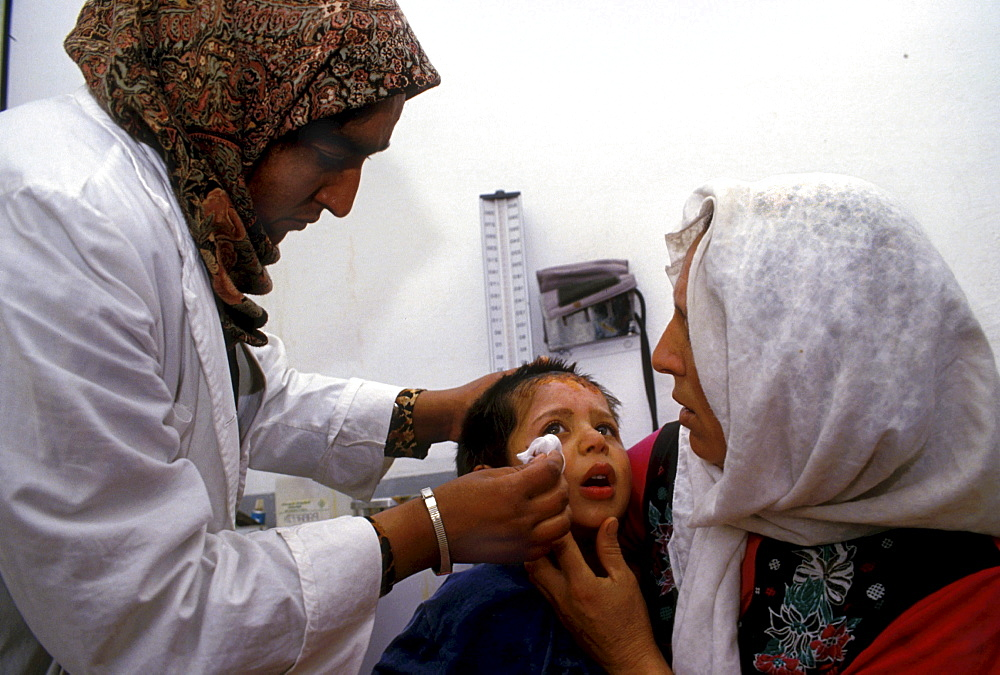 Health. Clinics childs consultation at medical relief commitee clinic, ithna, palestine.