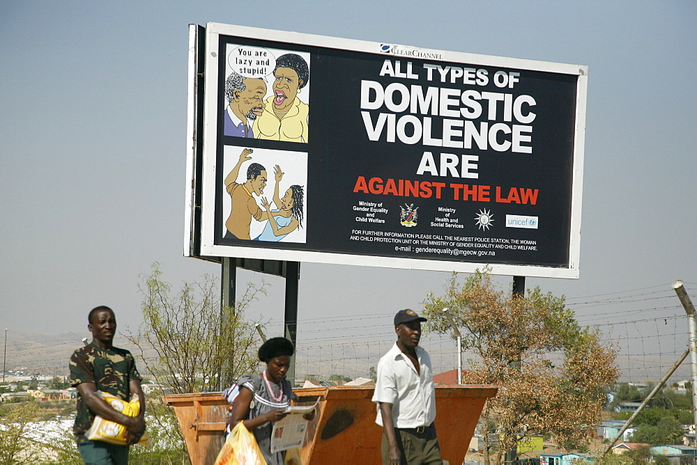 Namibia billboard warning against domestic violence. Slum district of katatura, windhoek