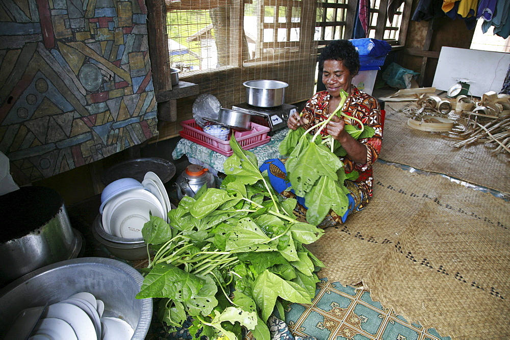 Fiji woman preparing spinach for cooking. taveuni photo by sean sprague