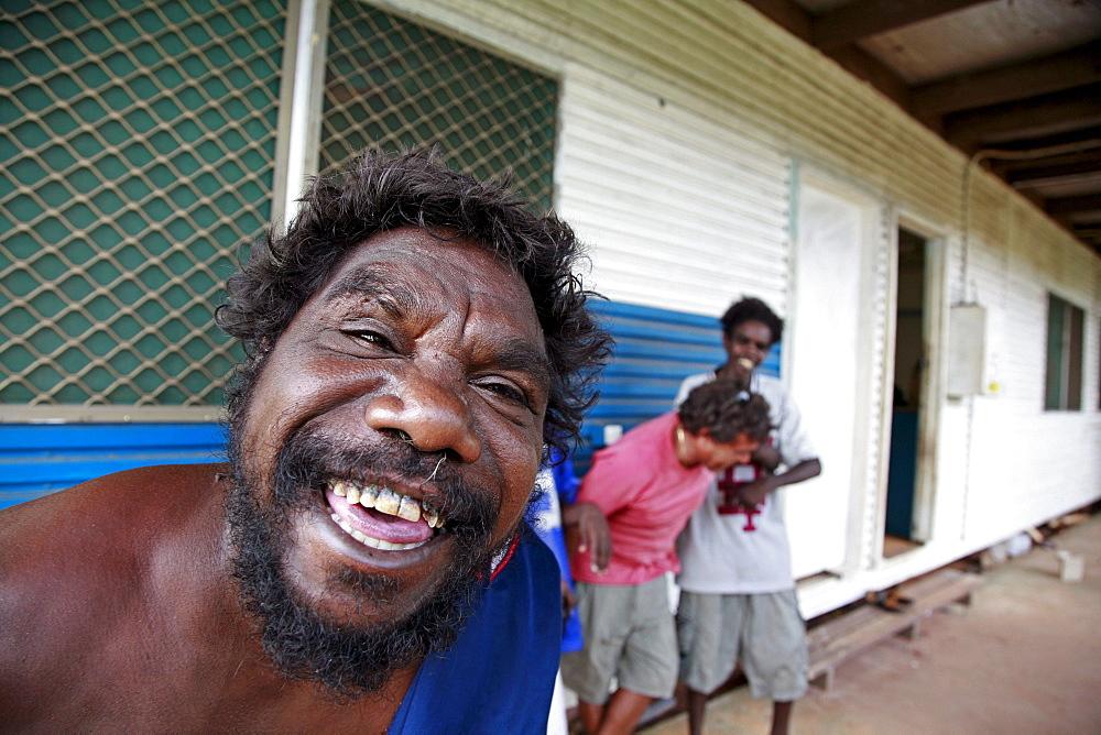 Australia. Men in the aborigine community of , or beswick, arnemland, northern territory. 2007