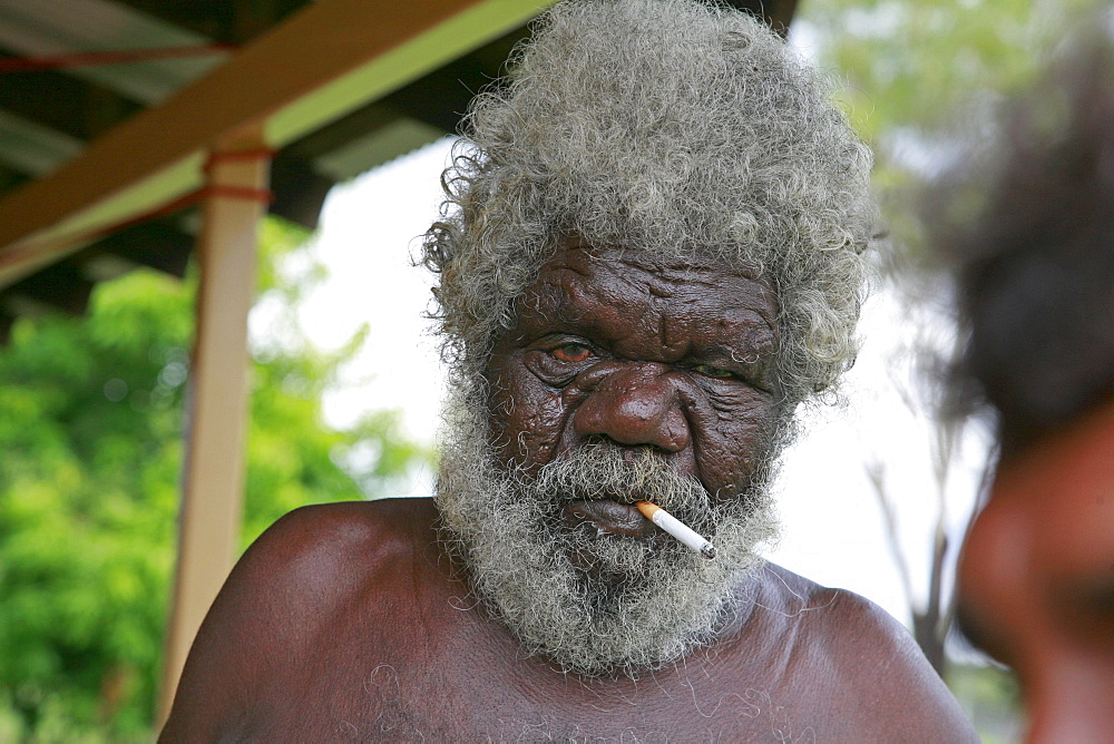 Australia. Older aborigine man, aborigine community of , or beswick, arnemland, northern territory. 2007