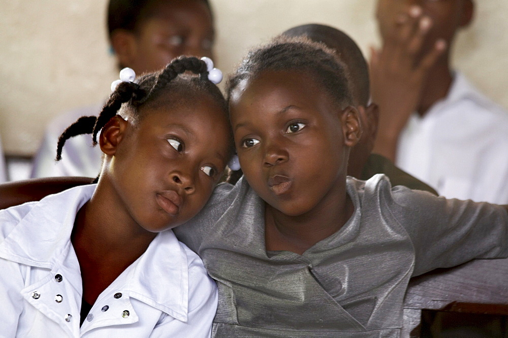 Jamaica. Faces at sunday mass in the catholic church at seaford town