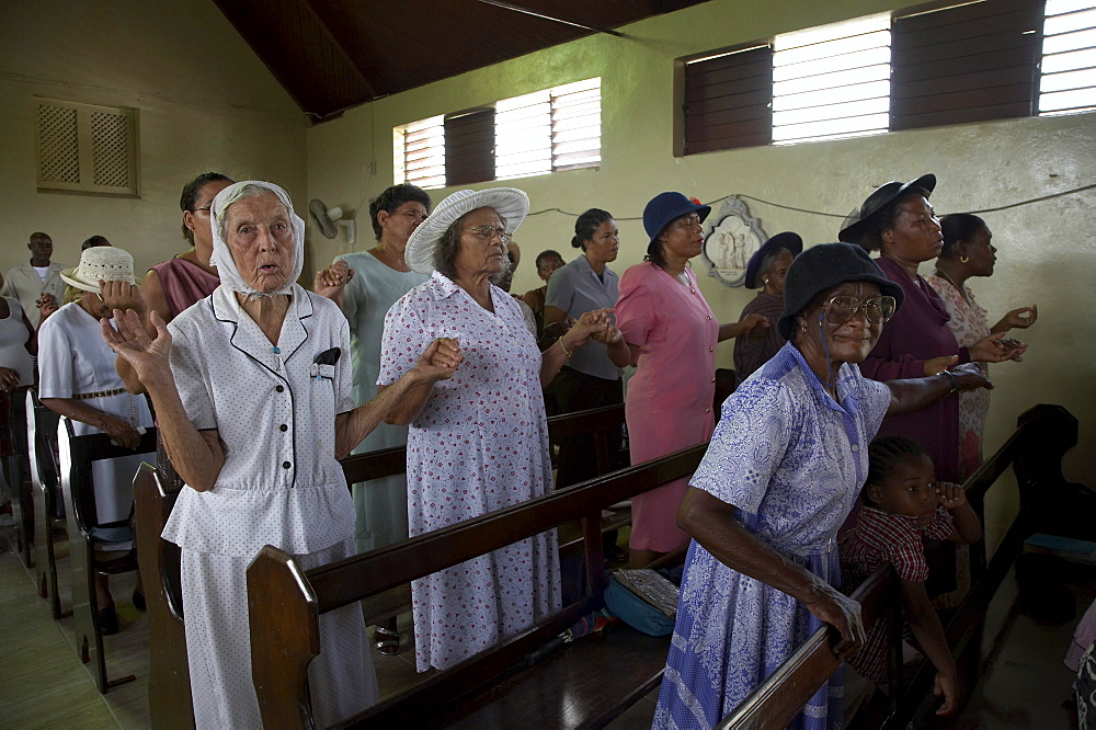 Jamaica. Congregation during sunday mass in the catholic church at seaford town