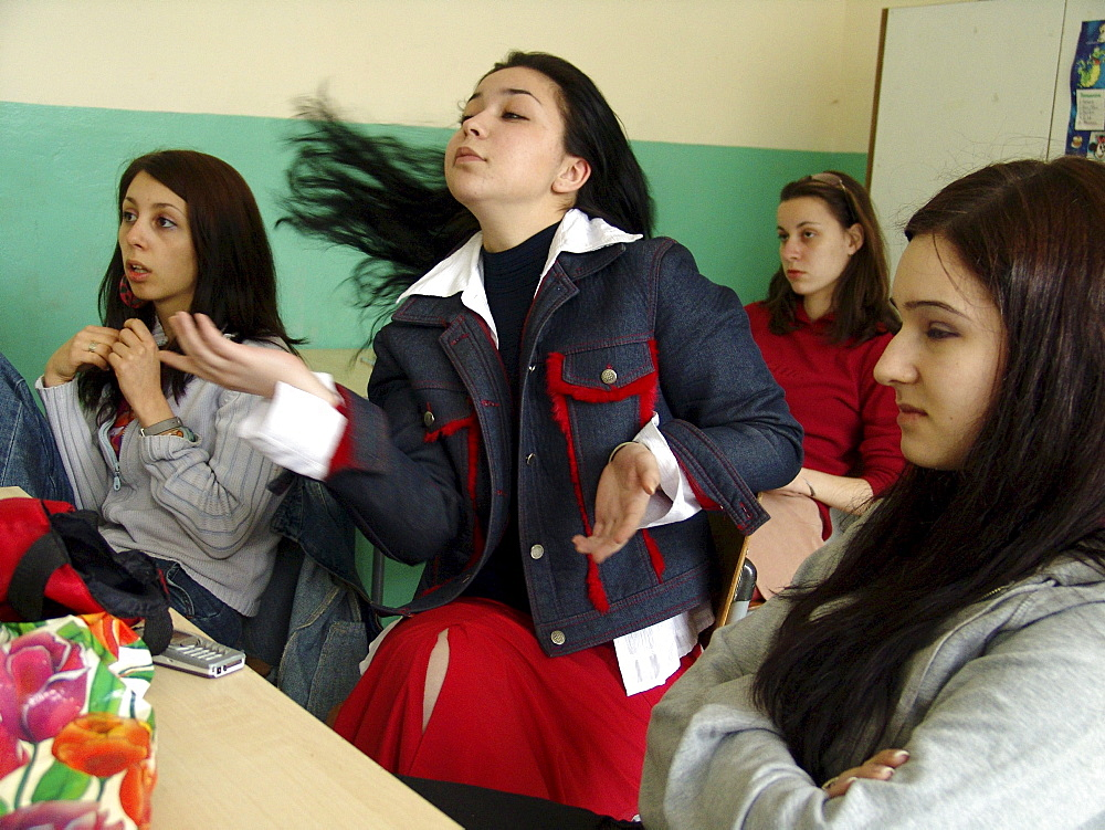 Drugs, bulgaria teenagers at drug awareness program in high school no. 35, sofia