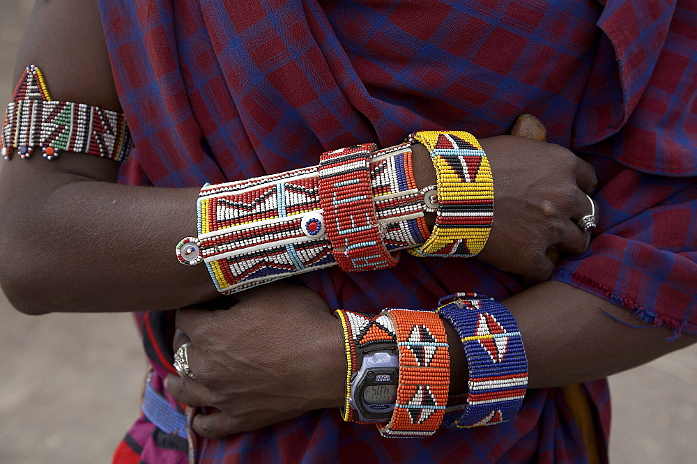 Kenya. Details of beads and watch worn by masai man at a masai village within the amboseli national park. Photo by sean spragu - 1194-2384