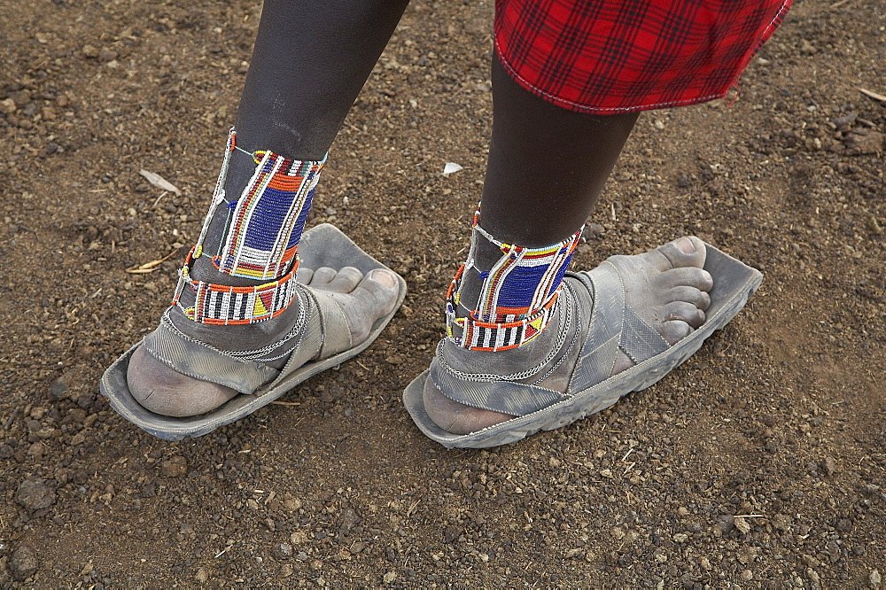 Kenya. Detail of sandals worn by a masai man, masai village within the amboseli national park - 1194-2387