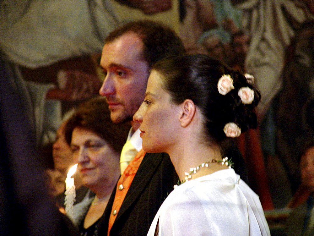 Wedding, bulgaria. Wedding ceremony inside the byzantine catholic assumption church, sofia