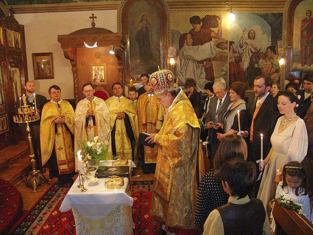 Religion, bulgaria. Wedding ceremony inside the byzantine catholic assumption church, sofia