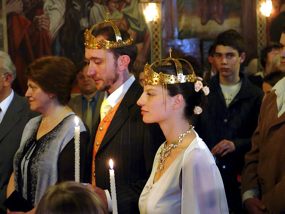 Religion, bulgaria. Wedding ceremony inside the byzantine catholic assumption church, sofia