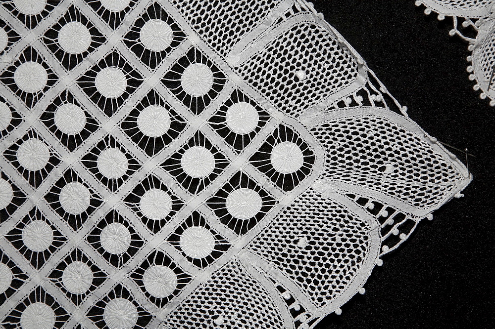 Brazil lace products in a community shop in pesqueira, pernambuco. details of lace made by local women