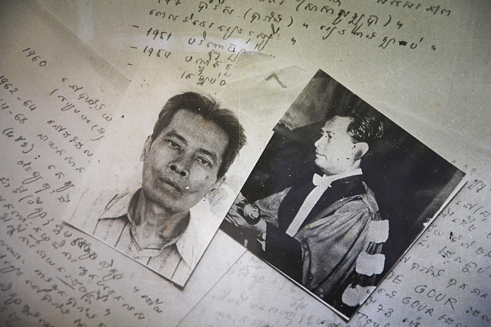 Cambodia tuol sleng museum and former prison and torture chambers of the khmer rouge. phnom penh. photographs of victims imprisoned, tortured and killed at the prison