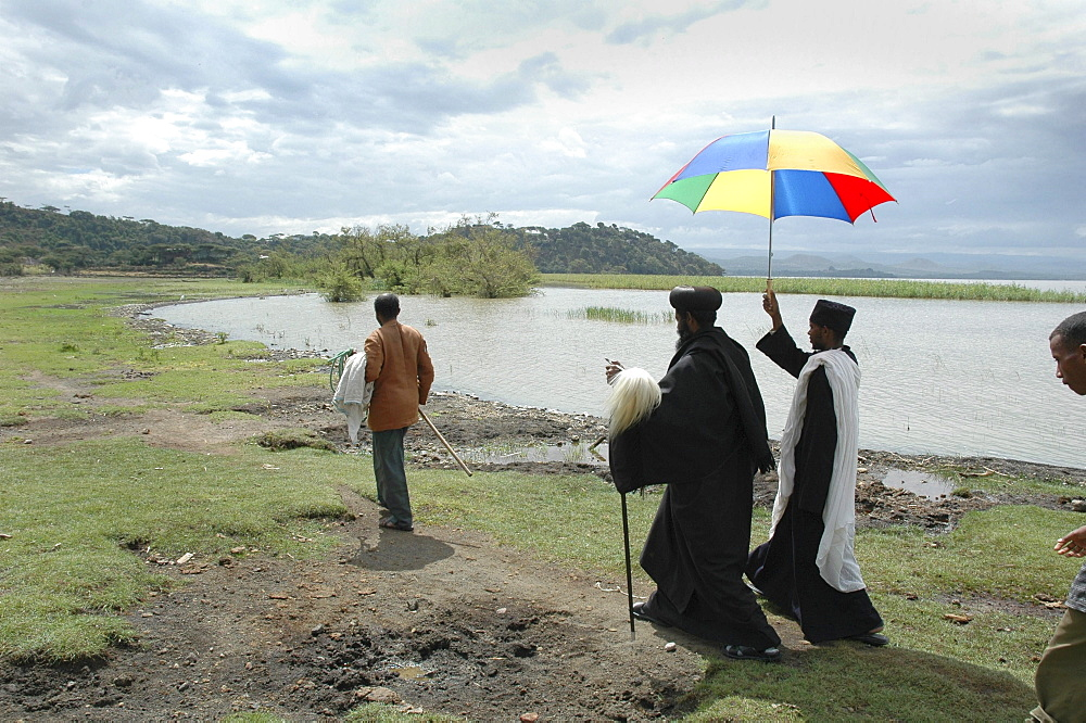 Religion, ethiopia. Archbishop gregorius visiting tullo gudo island and monastery of debre zion, lake ziway