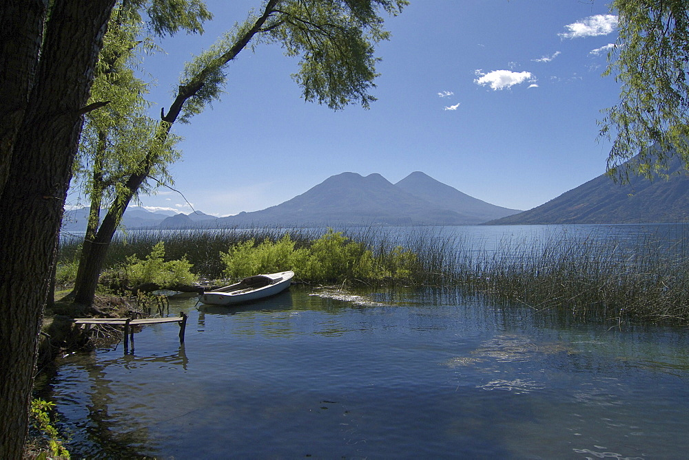 Guatemala lake atitlan in early morning, taken from san pedro la laguna.