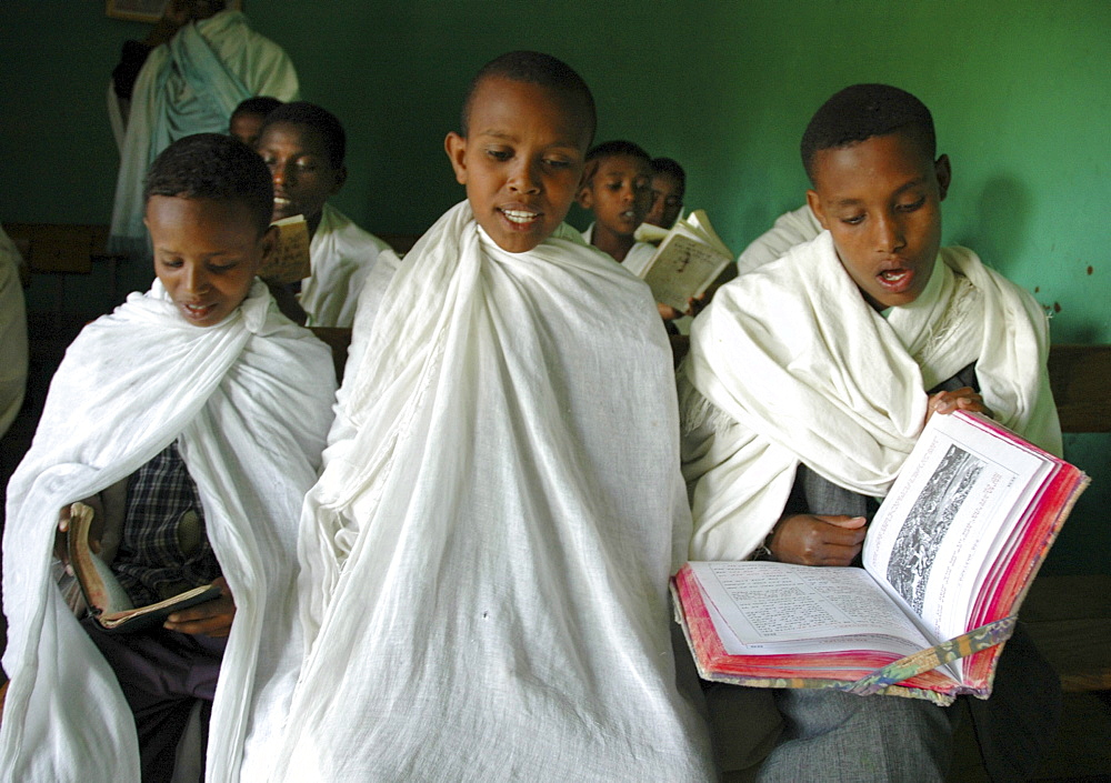 Religion, ethiopia. Orphan boys who are studying to be orthodox seminarians, ambo